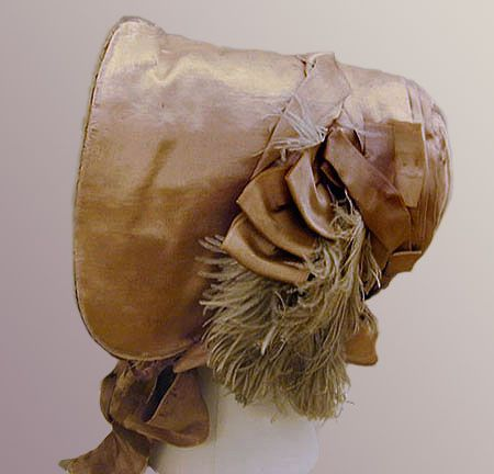 Bonnet: 1845, silk, trimmed with feathers and satin ribbons, bavolet and wired brim with a buckram form.