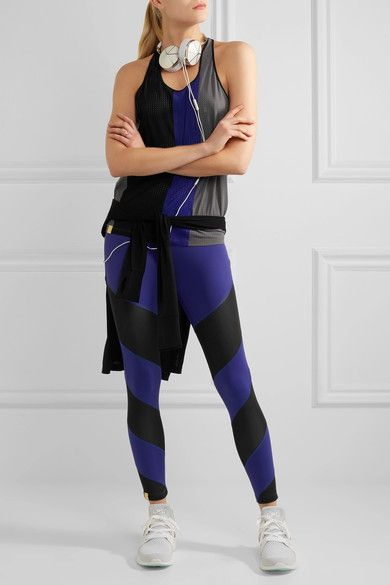 Monreal London - Color-block Perforated Stretch-jersey Tank - Anthracite - x small