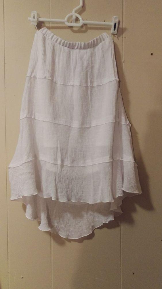 IZ Byer Asymetrical Layered White Skirt Size XS XSmall #IzByer #Asymmetrical
