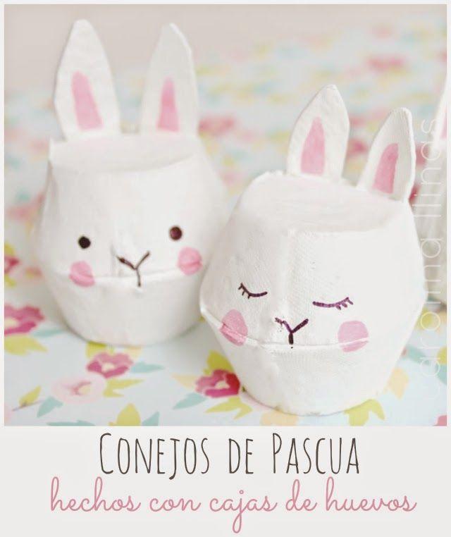 #Artividades : Conejos de Pascua hechos con cajas de huevos                                                                                                                                                                                 Más