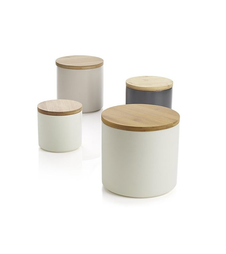 Matching Canisters in the Kitchen Decant common pantry items into matching food storage jars to give your kitchen a polished, cohesive look. Crate & Barrel - Set of 4 Silo Canisters ($50)