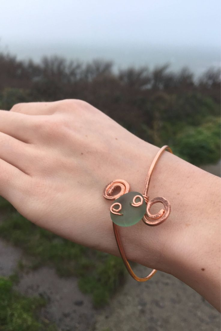 Excited to share the latest addition to my #etsy shop: Handmade Copper and Sea Glass Bangles, Recyled Jewellery, Copper Wire, Seaside, Unique Bracelet, Bohemian Bracelet