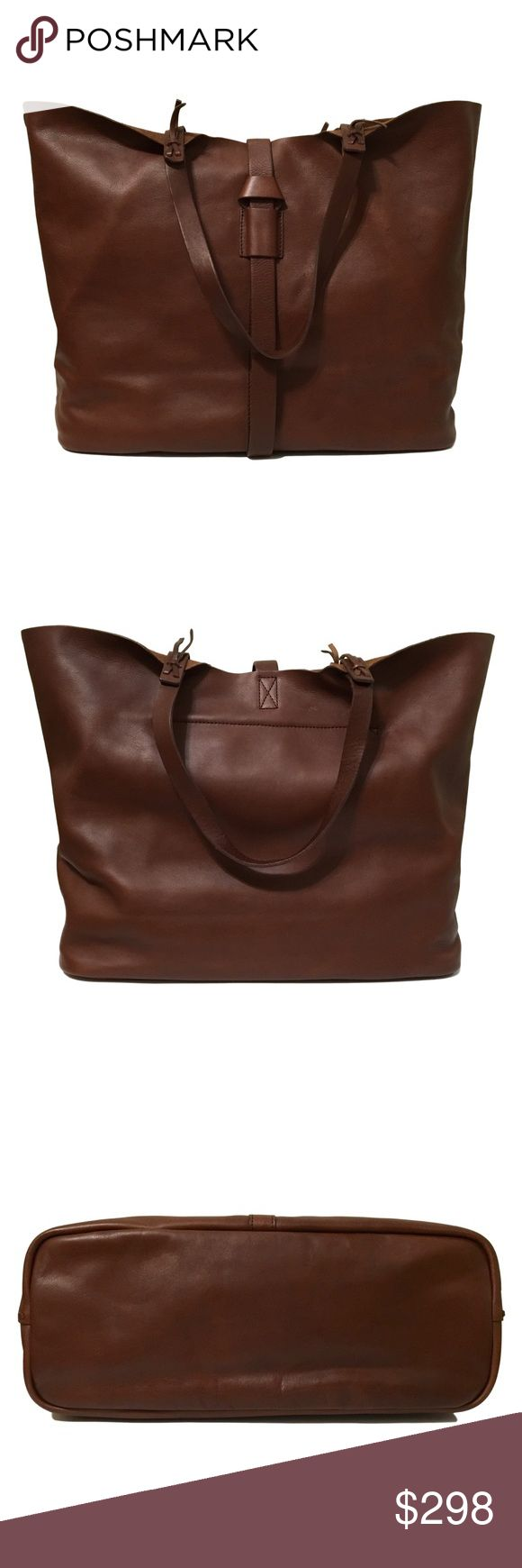 """✨ NWT Madewell Marin Tote in Bag Rich Brown A hard to find favorite in a gorgeous, mahogany rich brown color, deeper than English saddle. The perfect cary all! This bag is new, never used, but there are natural variations in the leather, which is normal for Madewell bags. Price is firm.  approximate measurements 8.25"""" handle drop 13.5""""h x 15""""w x 7""""d  ❌ Sorry, no trades.  507940  bucket saddle  fairlygirly Madewell Bags Totes"""