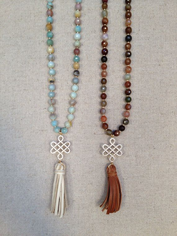 Beaded Necklace with Pave Celtic Knot and Leather Tassel Pendant