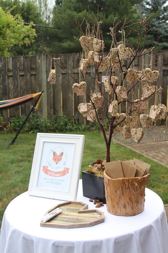 Guest book and favors from my woodland themed baby shower