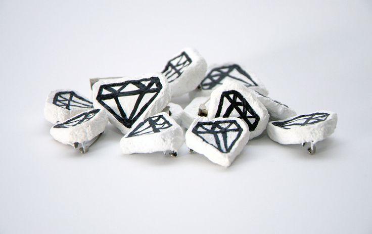 Diamond paper mache brooch by bvbblegvm, for sale on http://hellopretty.co.za