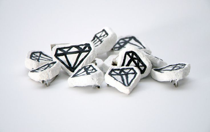 Diamond paper mache brooch by bvbblegvm, for sale on http://hellopretty.co.za
