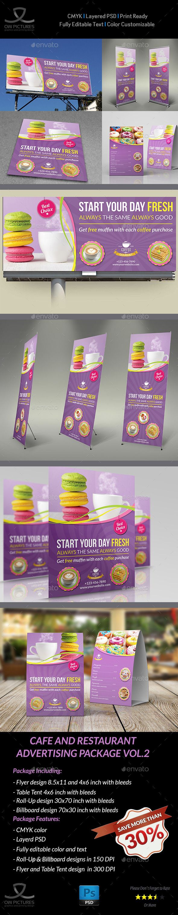 Cafe and Restaurant Advertising Bundle Template #design Download: http://graphicriver.net/item/cafe-and-restaurant-advertising-bundle-vol2/11753698?ref=ksioks