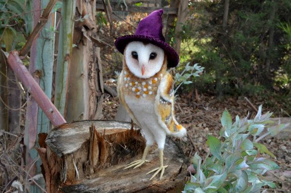 Needle felted barn owl with hat