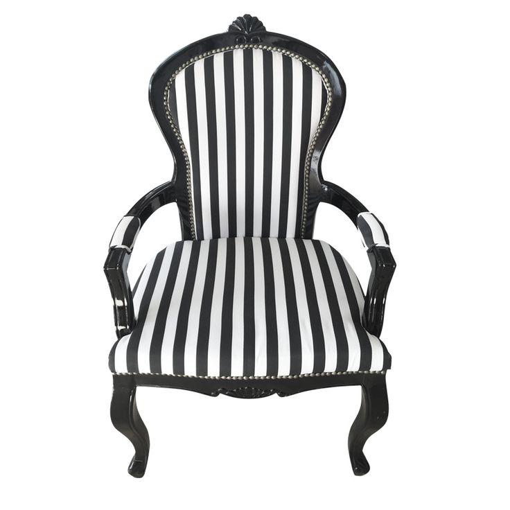Donnatella chair er en herskapelig og flott stol. Stolen har en ramme i heltre. Sittepute og ryggpute har et polstret stripestoff i hvitt og svart. For mer info og bestilling: www.krogh-design.no