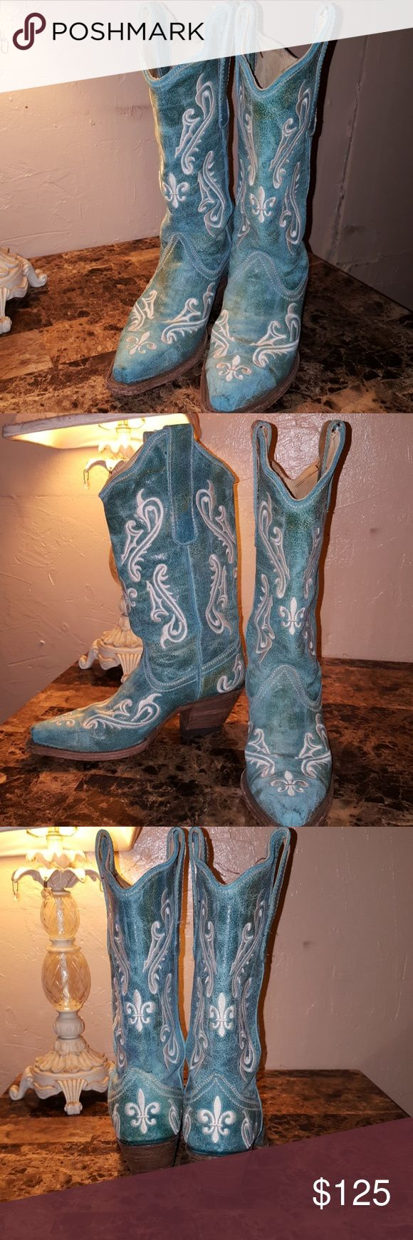 Corral Boots Like new teal/turquoise with white embroidery EUC. Cowgirl boots. Corral Shoes