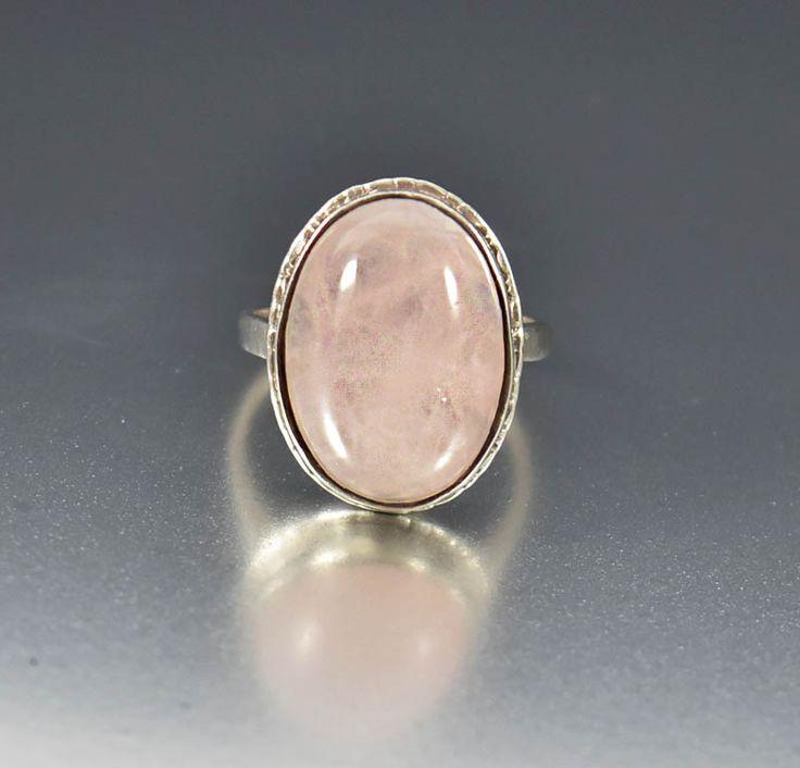 Vintage Sterling Silver Pink Rose Quartz Ring