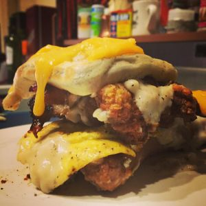"""SAUSAGE AND WAFFLE AND FRIED CHICKEN BREAKFAST LASAGNA 