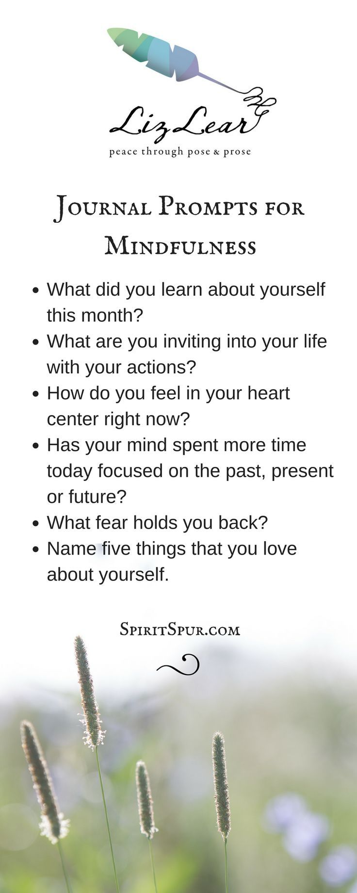Yoga-inspired journal writing prompts from Liz Lear | Free Cultivate Contentment journal writing guide | http://SpiritSpur.com blog at the intersection of yoga mat and journal page