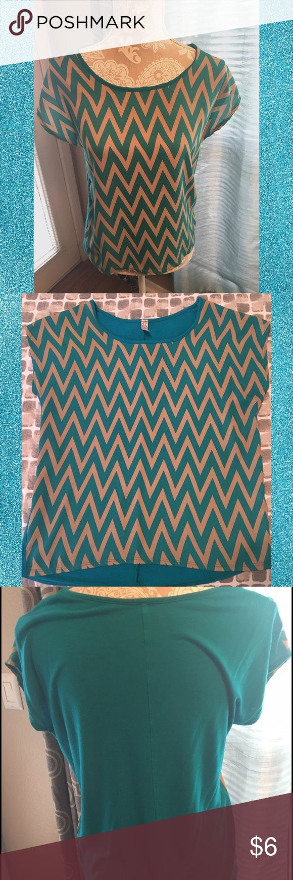 Teal and tan chevron pattern blouse Teal and tan chevron pattern blouse. Size small. EUC. No damage. Fits slightly loose or could work for a M as well. Solid back with pattern on front. Soft material. Goes great with pants, shorts or slacks. Add a blazer for a great office outfit. #teal #tan #small #blouse #top #woman ❌no trades❌ Tops Blouses