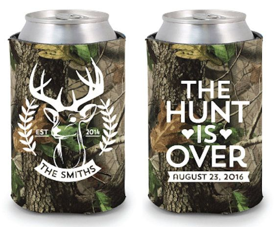 Camo Wedding Koozie Wedding Koozies The Hunt is by SipHipHooray.... Get matching personalized napkins at www.napkinspersonalized.com #countrywedding #camowedding