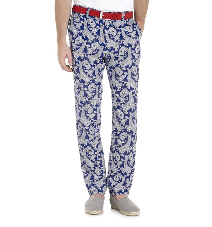 Hackett - Pantalones de Lino con estampado de Paisley