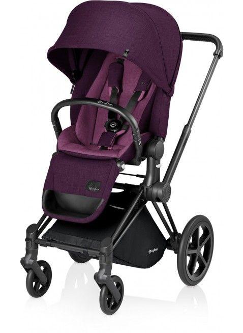 Cybex Priam Kinderwagen Set Schwarz / Mystic Pink mit Lux Sitz - Kleine Fabriek. Mehr Infos auf https://www.kleinefabriek.com/.