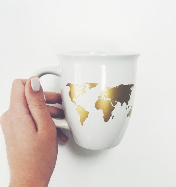World Map Coffee Mug In Gold By Lovealicelouise On Etsy Lal