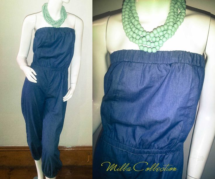 Boobtube denim jumpers and wooden beads