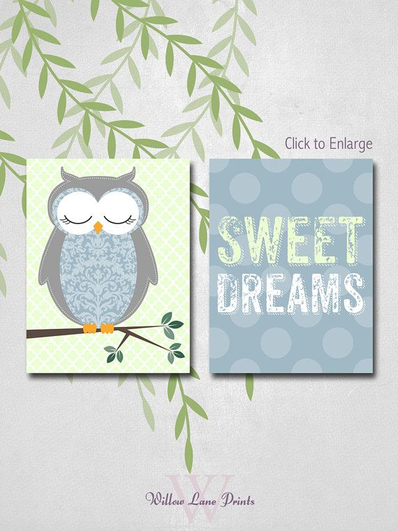 Boys Owl Wall Art, Babies Room Nursery Decor, Sweet Dreams Bedroom Decor, Custom Color, Prints on Etsy, $30.00
