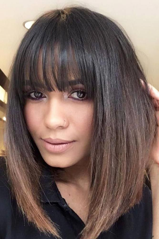 Straight Medium Length Hairstyles With Wispy Bangs Mediumlengthhairstyles Hairstyles Longbob Bangs In 2020 Bangs With Medium Hair Hair Styles Medium Hair Styles