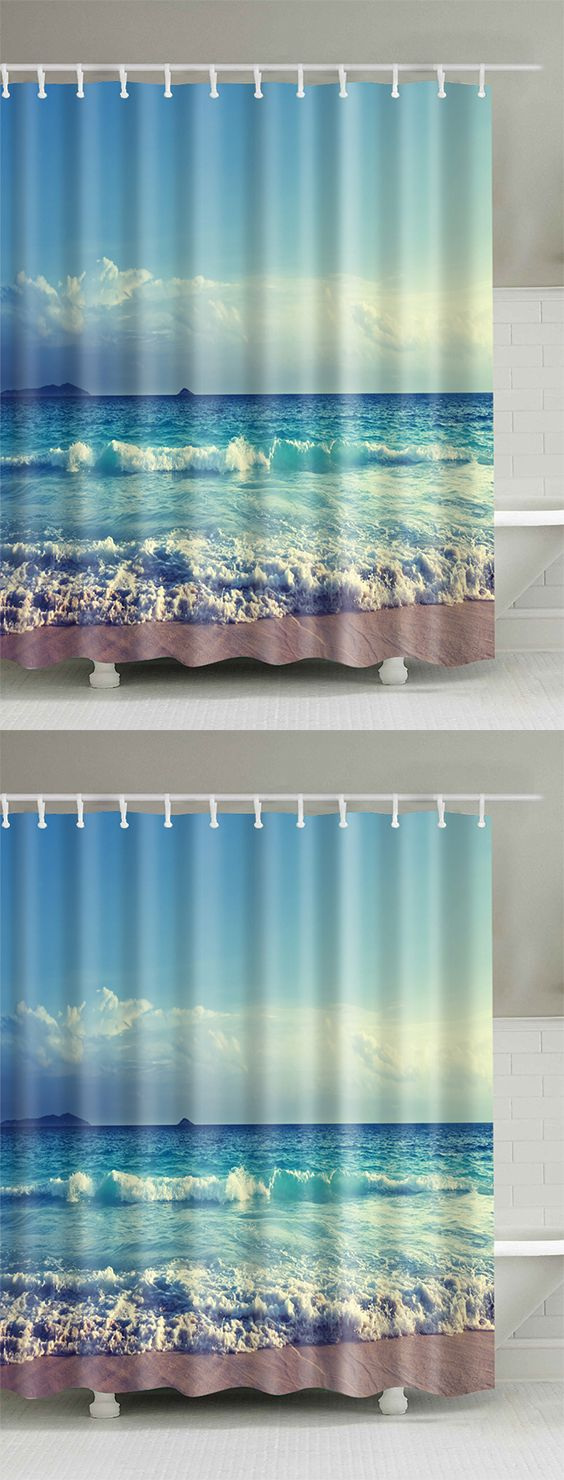 Ocean Print Waterproof Bath Shower Curtain