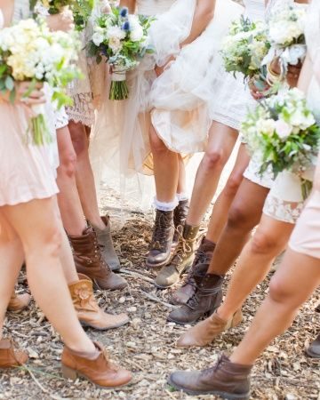 Bridesmaids in boots. See more at http://www.marthastewartweddings.com/337252/real-wedding-hillary-and-aaron-san-luis-obispo-california/@Virginia Kraljevic Kraljevic Stokes/272446/real-weddings#331544