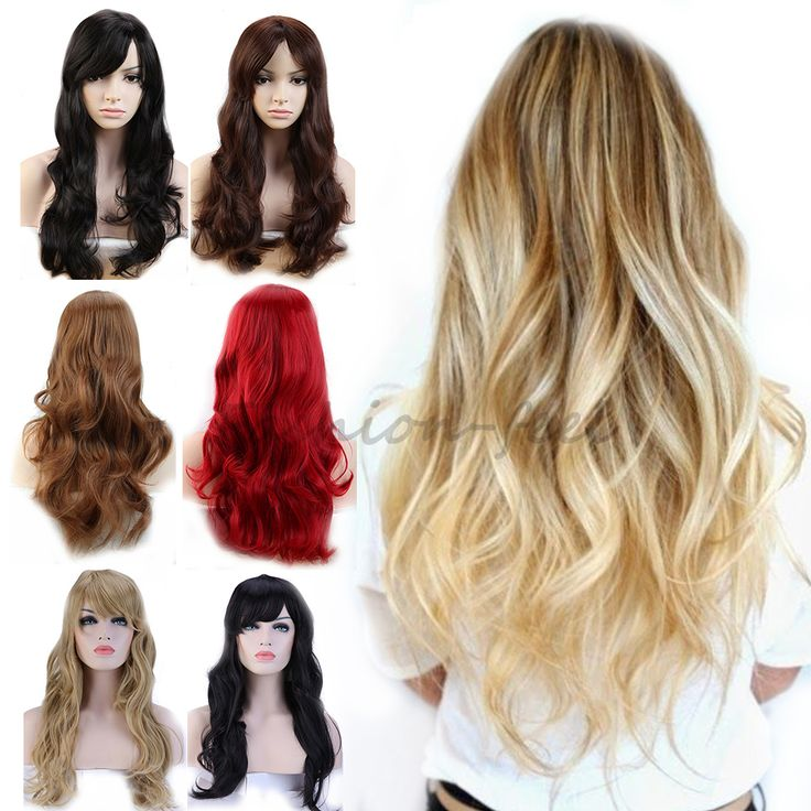 """19"""" Long Curly Wavy Synthetic Full Head Wigs Dark Brown Auburn Women's Costume Cosplay Daily Fancy Dress 100% Natural Hair Wig"""