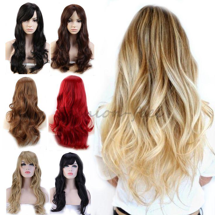 """19 """"긴 곱슬 물결 모양의 합성 가발 가발 어두운 갈색 적갈색 여성의 의상 코스프레 데일리 멋진 드레스 100% 자연 머리 가발"""