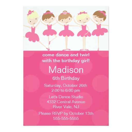 401 best ballet birthday party invitations images on pinterest, Birthday invitations