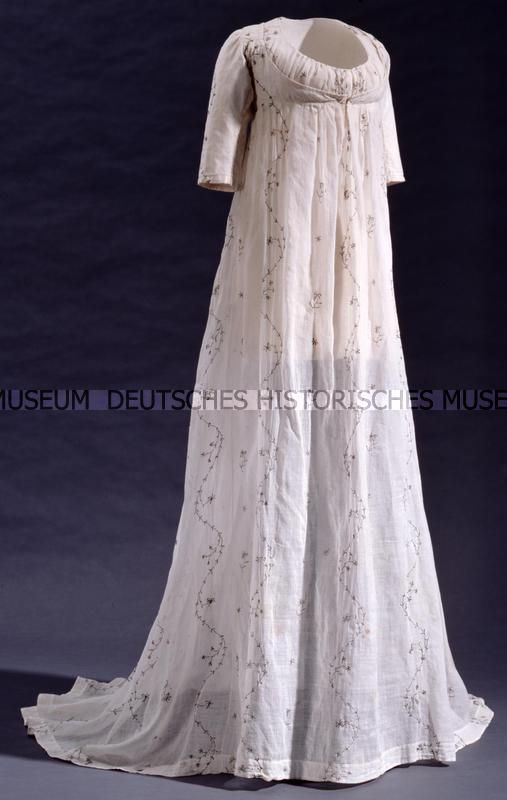 Ephemeral Elegance | Embroidered Muslin Dress, ca. 1795 via DHM