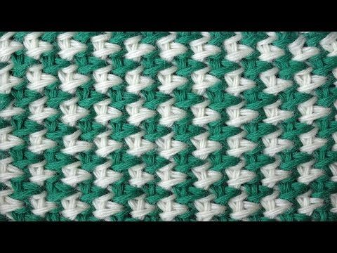 Tunisian crochet pattern Двухцветная путанка Тунисский узор крючком 5 - YouTube