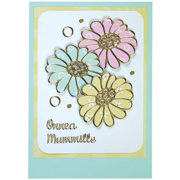 Kaunis kukkakortti mummille ääriviivatarrojen avulla. Sinellistä löydät hulppean valikoiman erilaisia ääriviivatarroja.
