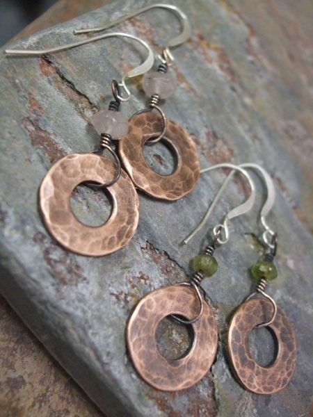 Stonewashed Antiqued Copper Gemstone and by ThePurpleLilyDesigns, $13.00
