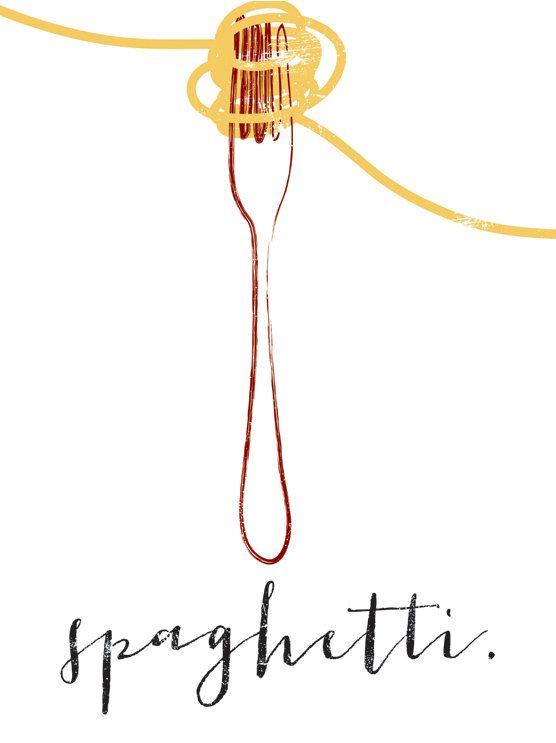 Spaghetti & Fork graphic culinary art par FowlerCreativeArts