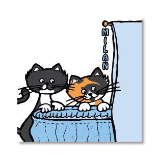Poppycards geboortekaartje - blauwe wieg met katten