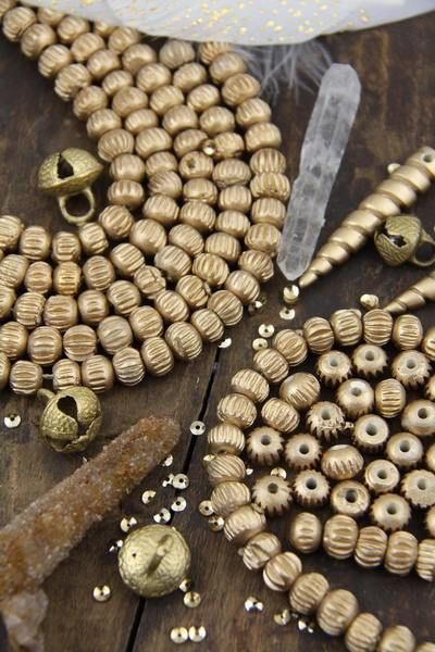 Golden Melon : Gold Balsa Wooden Rondelle Grooved Beads, 10x8mm, Large Hole Beads for Making Bracelet Malas, Yoga Jewelry, Shimmering, 30pcs