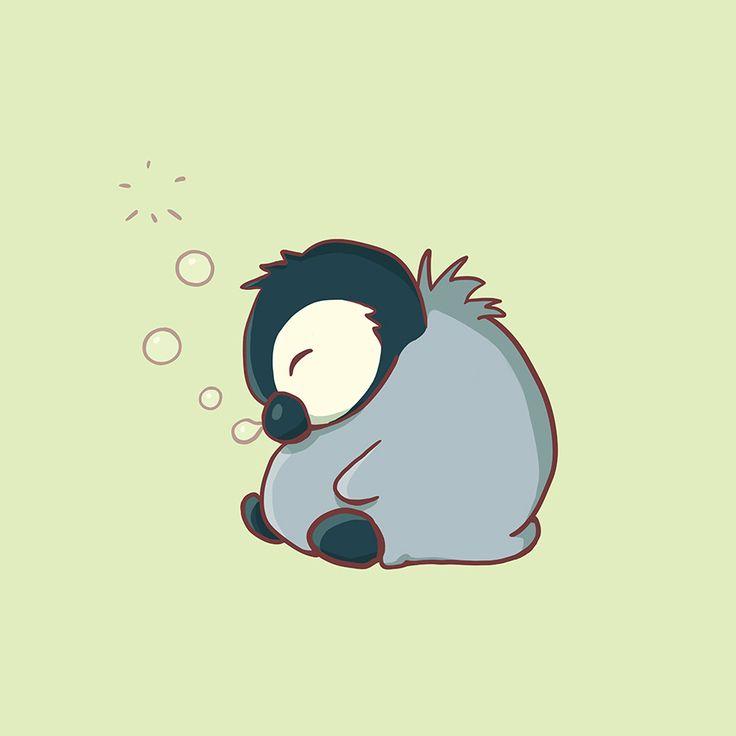 adorable sleeping baby penguin