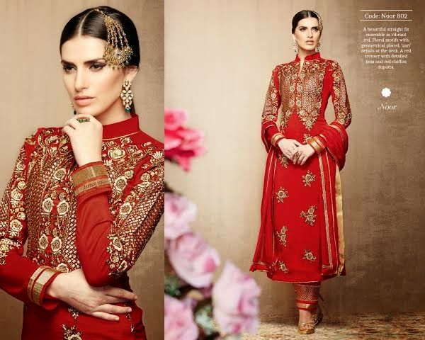 Superbly designed Red Tussar Silk Straight cut Plazo Style Salwar suit with heavy embroidery and hand work done. Along with Matching Santoon Bottom and Chiffon Duppatta.