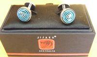Jijaka design Cufflinks - Round  Chrome plated round base with cufflink box dimensions:  1.3cm diameter made in China  Price:  $18.00 Code:  CUFF-JIJR