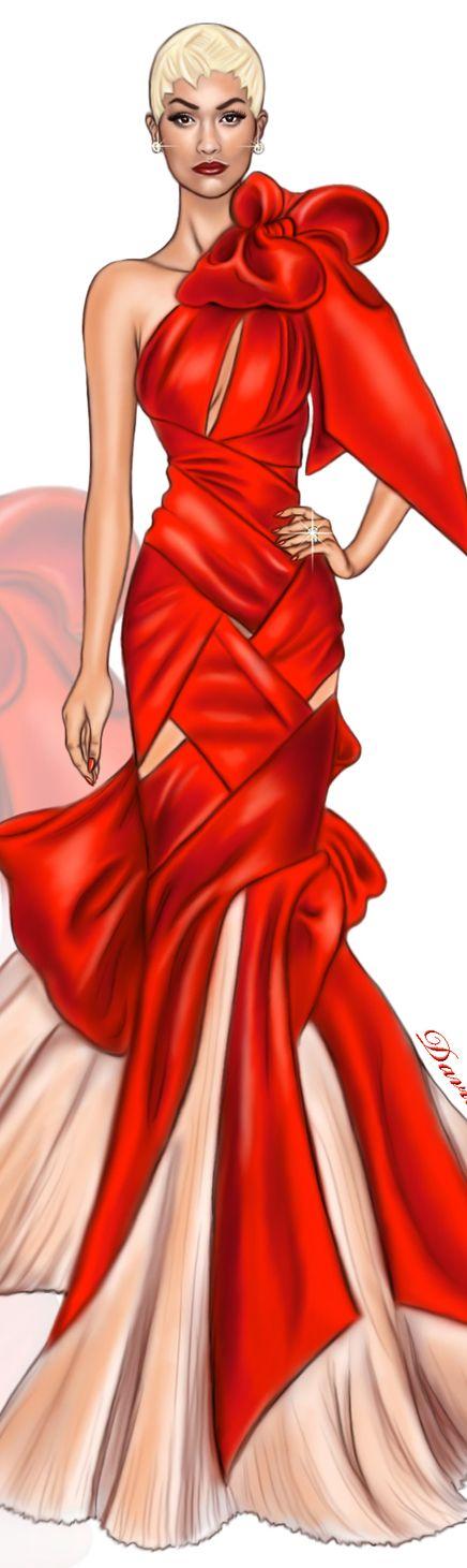 Rita Ora wearing a custom Marchesa gown at #metgala2017#digitaldrawing by @David Mandeiro Illustrations @Wacom