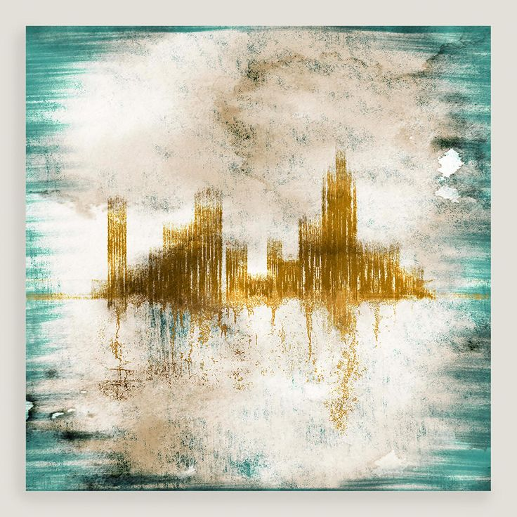Our gold-toned cityscape floats in a cloud-like haze of white framed by a bright teal border. This gallery-wrapped abstract is printed with high-quality inks and finished with a protective gel coating.