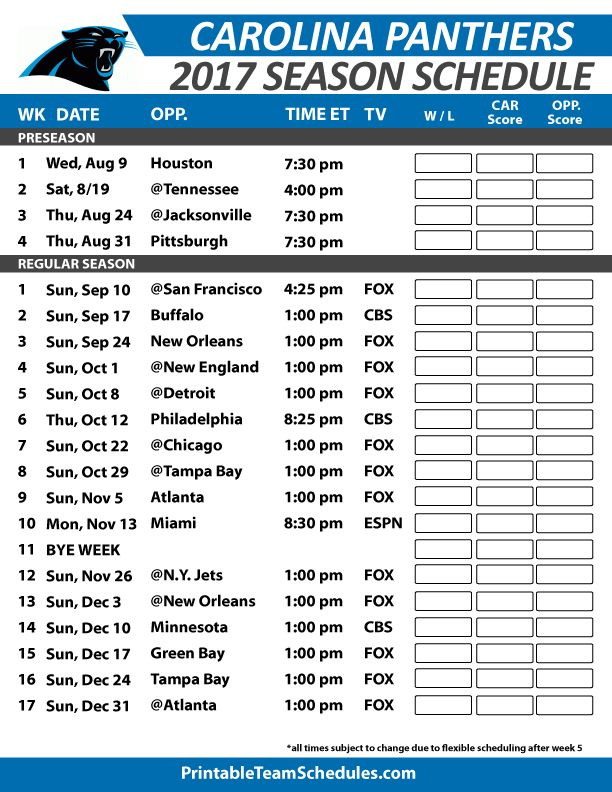 Carolina Panthers Football Schedule 2017