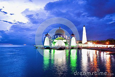 The Malacca Straits Mosque is the first mosque located on the man-made Malacca Island near Malacca City in Malacca state Malaysia. The mosque, which was built using the mix of Middle Eastern and Malay craftsmanship, looks like a floating structure if the water level is high.