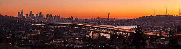 Sunset View Across Interstate 5 Bridge Towards Seattle. Photography by Mike Reid