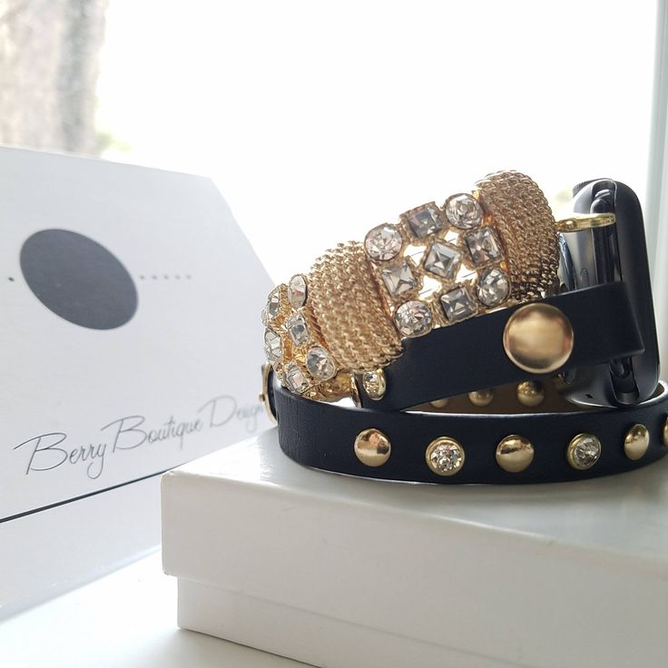 Apple Watch Band, Apple Watch Band 38mm, Apple Watch Band 42mm, Black Leather Wrap with Gold Studs &  Gold Tone Beaded Bracelet by BerryBoutiqueDesign on Etsy