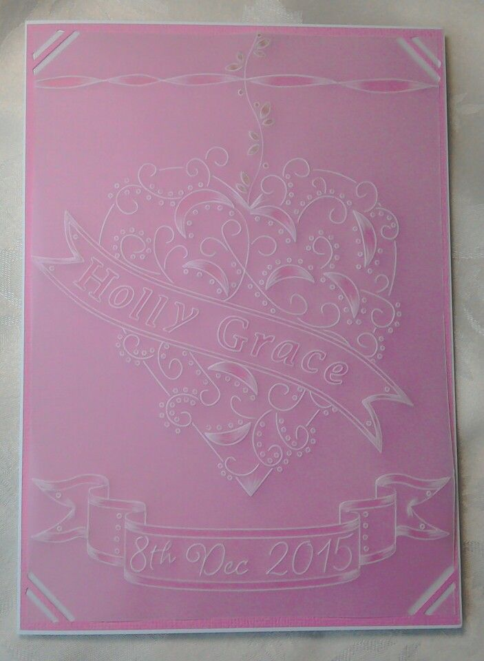 Baby girl birth celebration parchment card made using Clarity Stamps Groovi plates (heart swirl) - by Lynne Lee