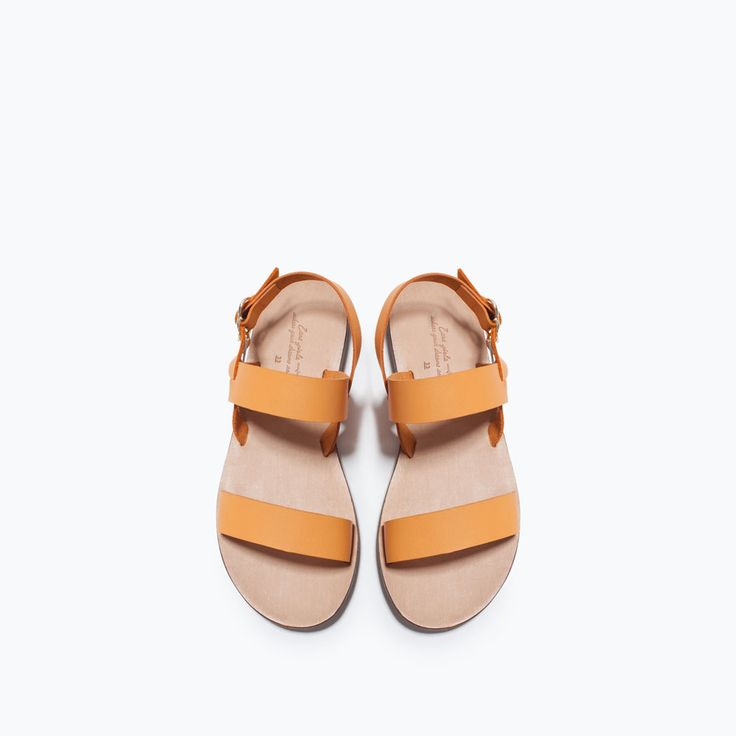 Image 4 of LEATHER FLAT SANDAL from Zara