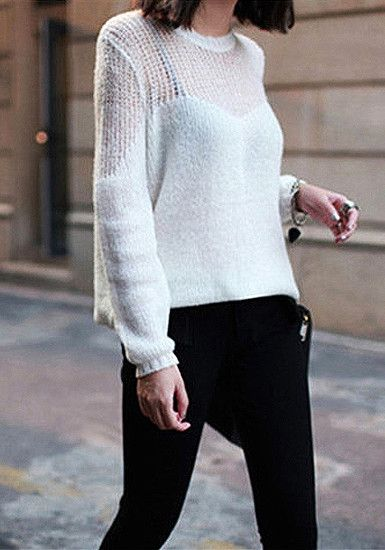 Open Weave Pullover - White - Creamy White Knit Sweater
